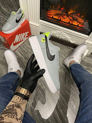 Кроссовки Nike Air Force 1 Low Grey Green мужские, серого цвета, Найк Аир Форс 42