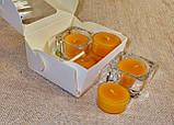Набор 2 стеклянных подсвечников с 6 прозрачными восковыми чайными свечами 18г в Белой Коробке, фото 3