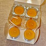 Набор 2 стеклянных подсвечников с 6 прозрачными восковыми чайными свечами 18г в Белой Коробке, фото 2