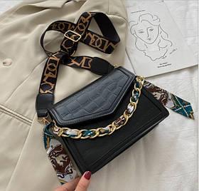 Женская сумка кросс-боди под крокодила на широком ремешке с цепочкой Amelia