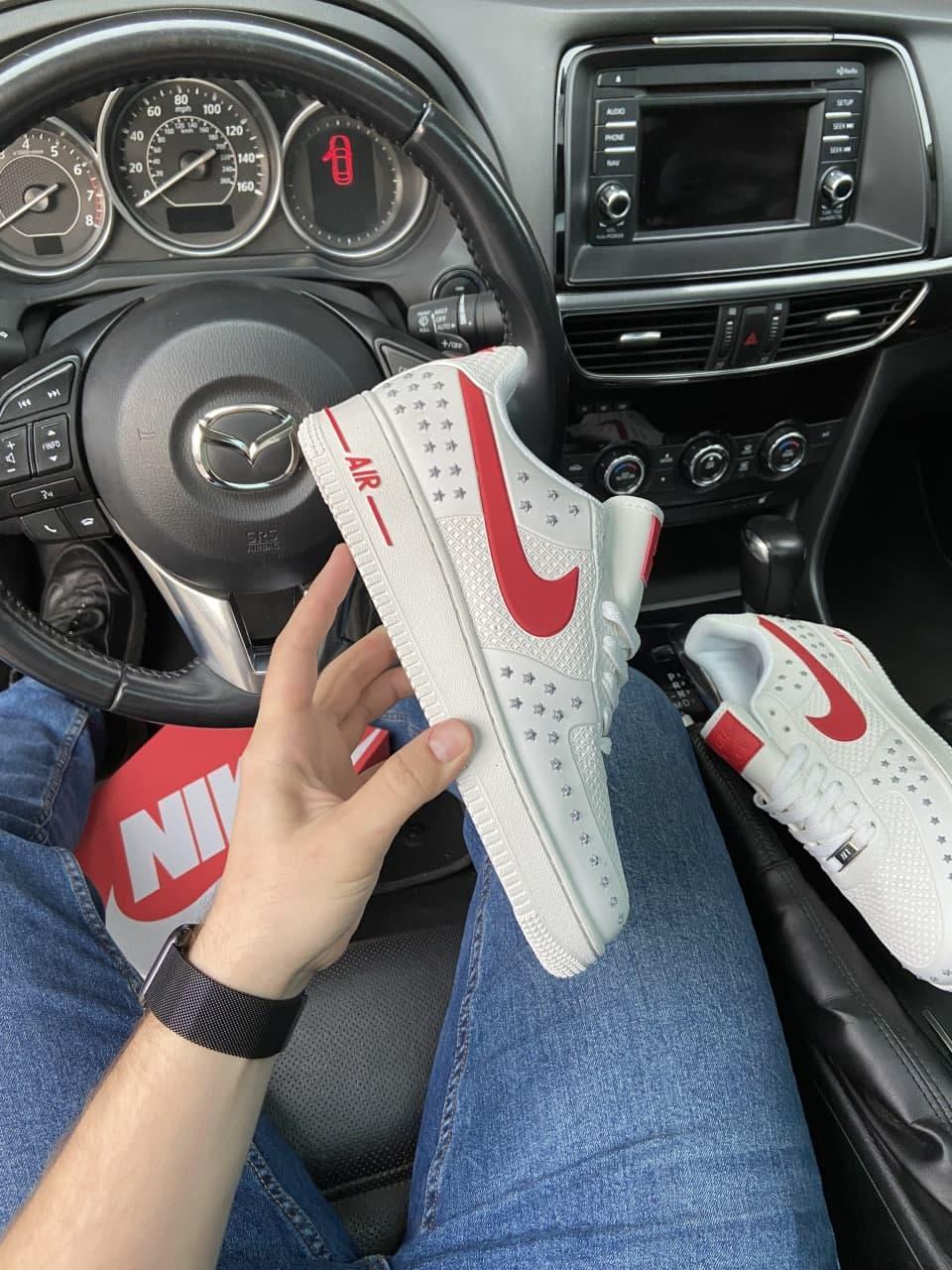 Кроссовки Nike Air Force 1 Low White Red мужские, белого цвета, Найк Аир Форс 42
