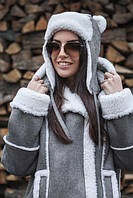 Женская шапка-ушанка замш