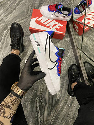 Кроссовки Nike Air Force 1 React White Blue мужские, белого цвета, Найк Аир Форс 42