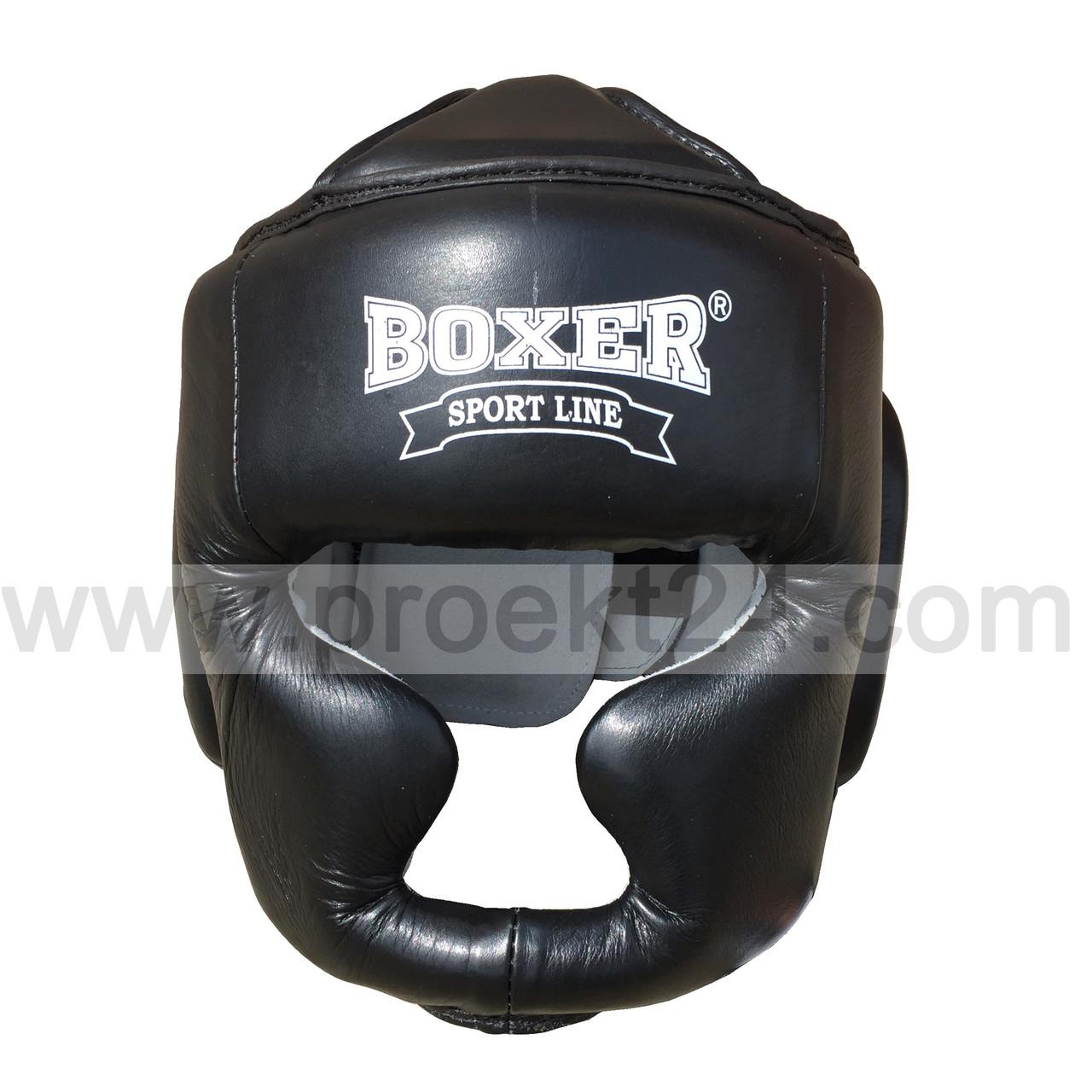 Шолом тренувальний для боксу та єдиноборств L шкіра, чорний BOXER