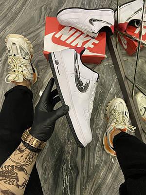 Кроссовки Nike Air Force 1 Low White Silver мужские, белого цвета, Найк Аир Форс 42