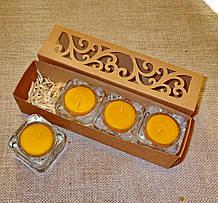 Набор 4 стеклянных подсвечников с 4 прозрачными восковыми чайными свечами 24г в коробке Бежевый Крафт