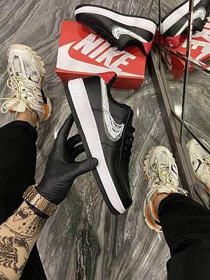 Кроссовки Nike Air Force 1 Low Black Silver мужские, черного цвета, Найк Аир Форс