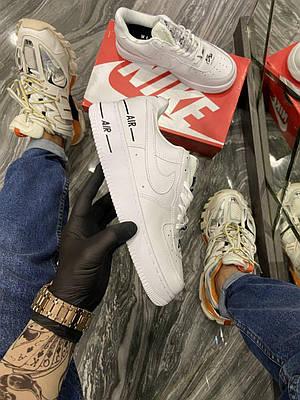 Кроссовки Nike Air Force 1 Low Added AirWhite BlACK мужские, белого цвета, Найк Аир Форс