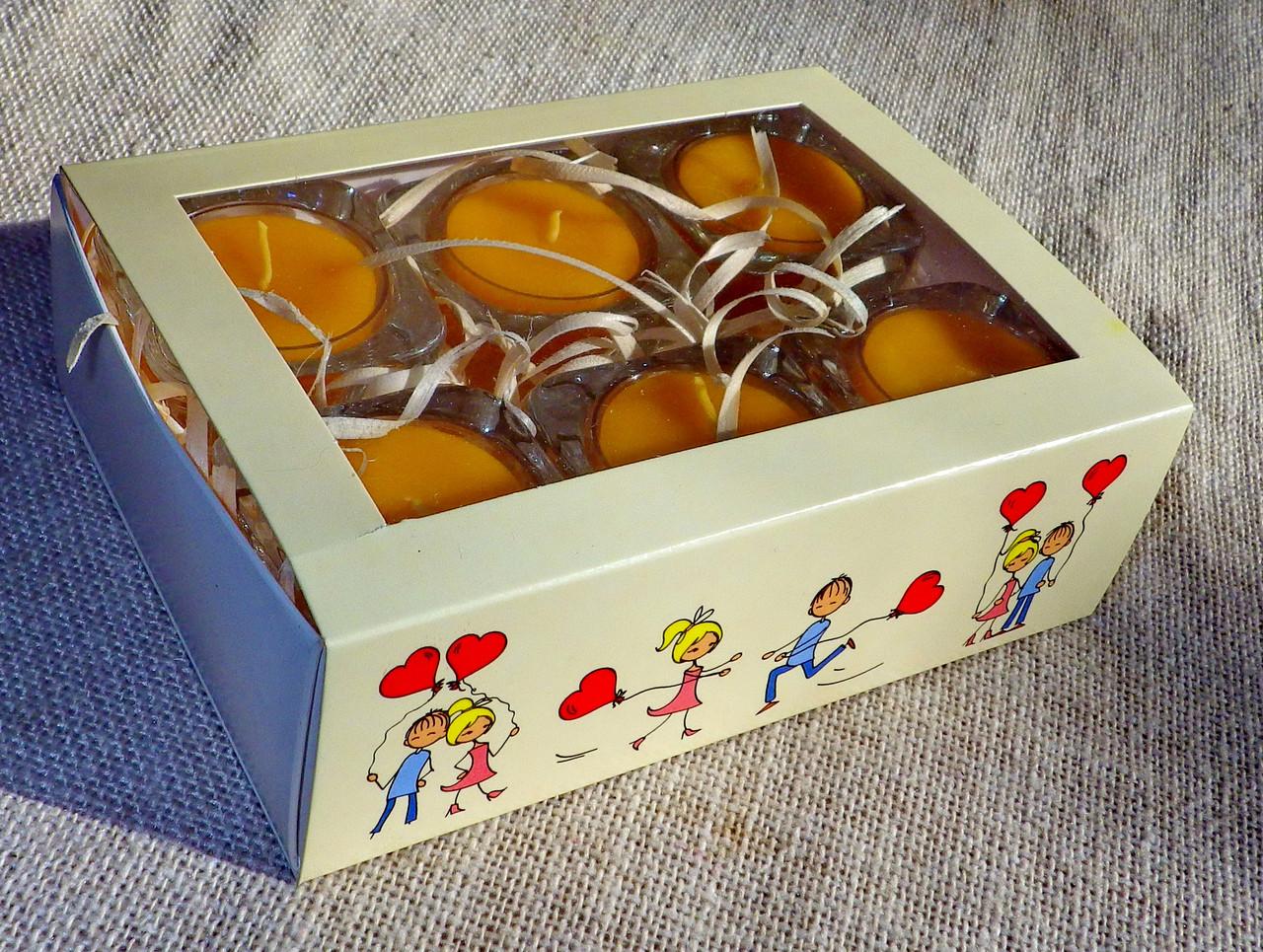 Набор 6 стеклянных подсвечников в комплекте с 6 прозрачными восковыми чайными свечами 24г для влюбленных