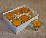 Набор 6 стеклянных подсвечников в комплекте с 6 прозрачными восковыми чайными свечами 24г для влюбленных, фото 3