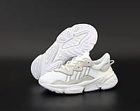 Кроссовки женские Adidas Ozweego белые рефлектив, АдиДас, натуральная кожа, сетка, прошиты, Код KD-12172