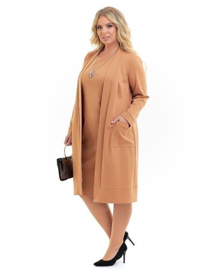Платье с кардиганом карамель (56)