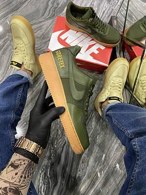 Кроссовки Nike Air Force Low GORE-TEX Haki мужские, зелёного цвета(хаки), Найк Аир Форс