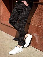 Стильные черные мужские штаны в клетку