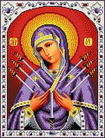 """Схема для вишивання бісером на атласі """"Ікона Божої Матері Семистрельная"""" Розмір 27х35 див."""