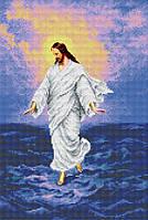 """Схема для вышивки бисером на атласе """"Иисус, идущий по воде"""" Размер 27х37 см."""