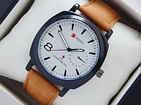 Мужские кварцевые наручные часы Curren GMT Chronometer на кожаном ремешкеr, White, фото 1