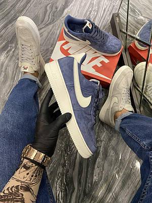 Кроссовки Nike Air Force Luxury Suede Blue мужские, синего цвета, Найк Аир Форс