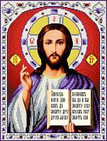 """Схема для вишивання бісером на атласі """"Ісус Христос Господь Вседержитель"""" Розмір 27х35 див."""
