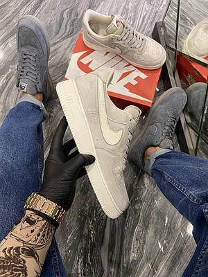 Кроссовки Nike Air Force Luxury Suede Light Grey мужские, серого цвета, Найк Аир Форс