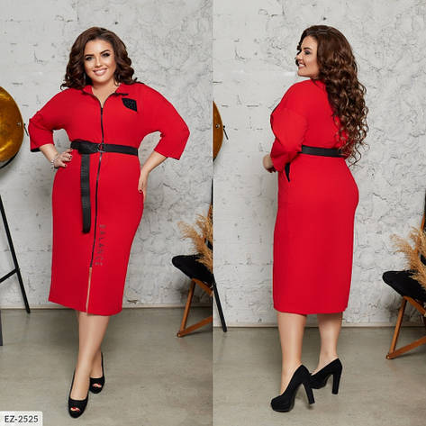 Стильне прогулянкове сукню, червоний, №282, 48-58р., фото 2