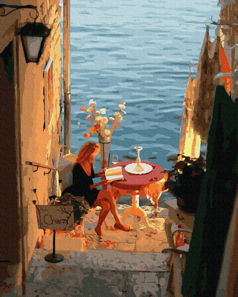 Картина за номерами Дівчина біля моря Ідеальне ранок 50х40см