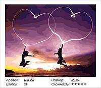 """Набір для малювання за номерами 40х50 """"Єднання двох сердець"""" MSP330"""