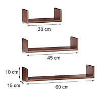 Набор навесных полок на стену из ДСП в спальню, ванную и кухню (3 шт.)