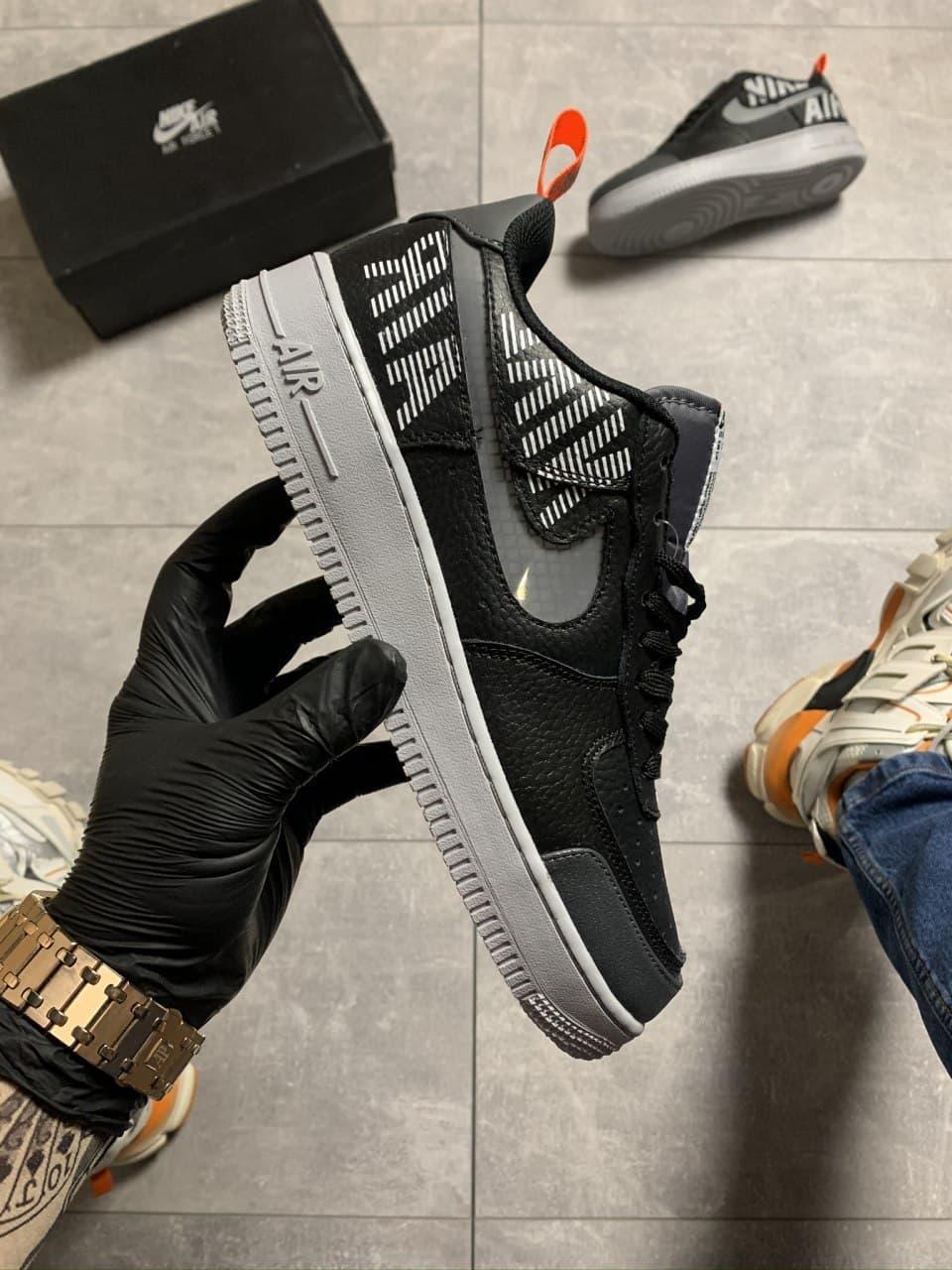 Кроссовки Nike Air Force Low '07 LV8 black/greу, черного цвета, Найк Аир Форс 46