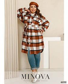 Пальто клетчатое  из кашемира с пуговицами цвет коричневый, больших размеров от 48 до 58