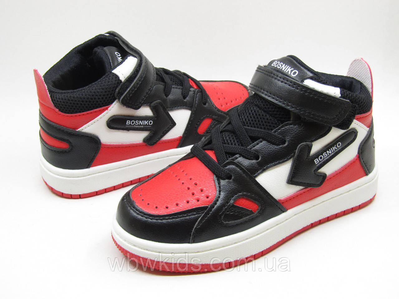 Кроссовки (хайтопы) демисезонные детские W.Niko AG 457-4 черно-красные на мальчика 29