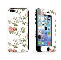 Защитное стекло (2in1) для iPhone 5/5s Roses переднее + заднее