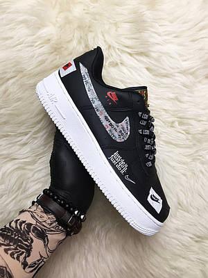Кроссовки Nike Air Force 1 Low Just Do It Black, черного цвета, Найк Аир Форс