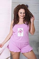 Піжама трикотажна майка + шорти XXL+ П1101 Рожевий