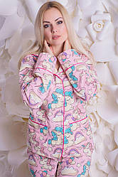 Піжама фланелева MiaNaGreen П307 Єдинороги на рожевому