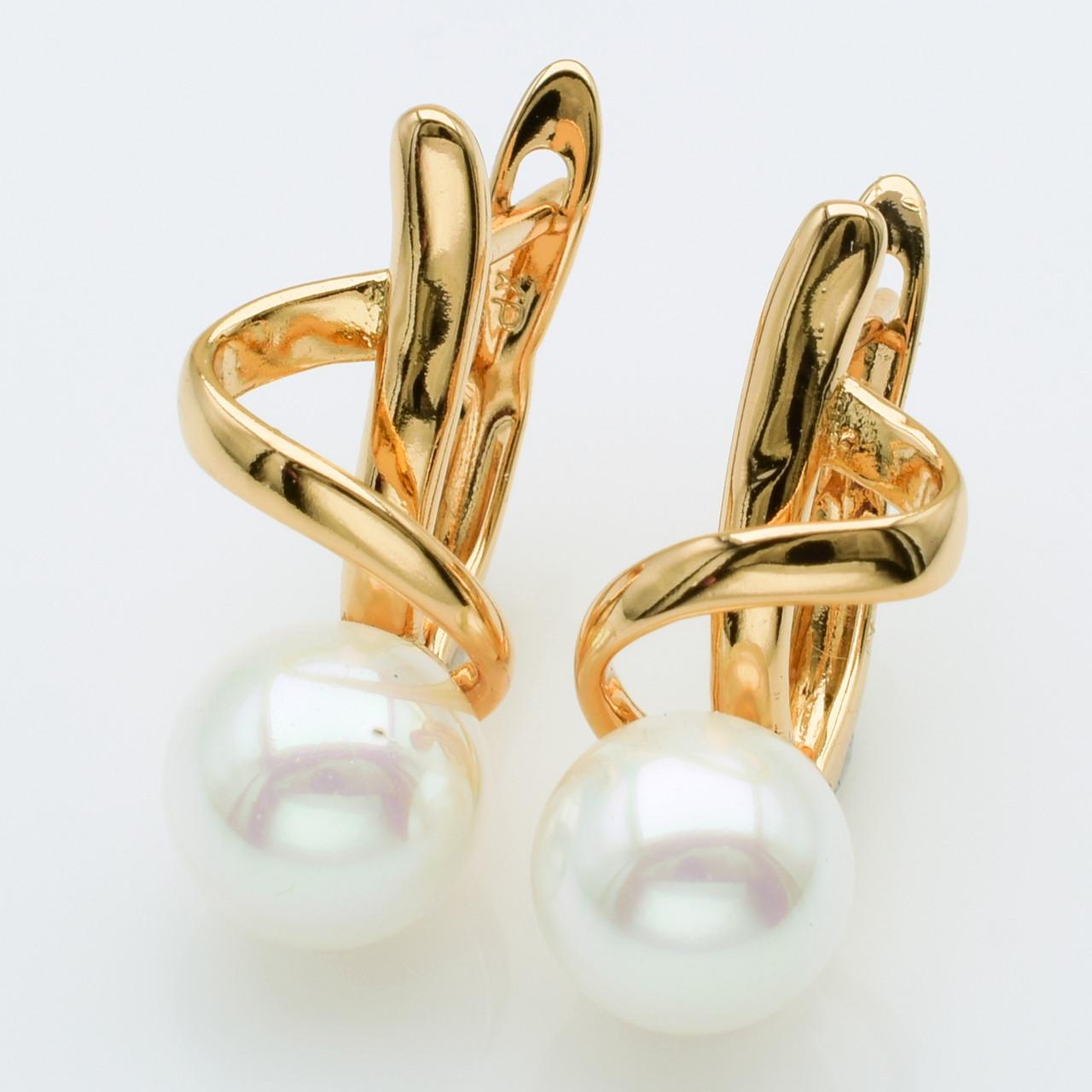 XUPING Сережки Позолота 18к з перлами і білими цирконами Висота 2.1 см, Ширина 0.9 см
