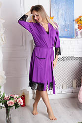 Халат трикотажний Х918 Фіолетовий