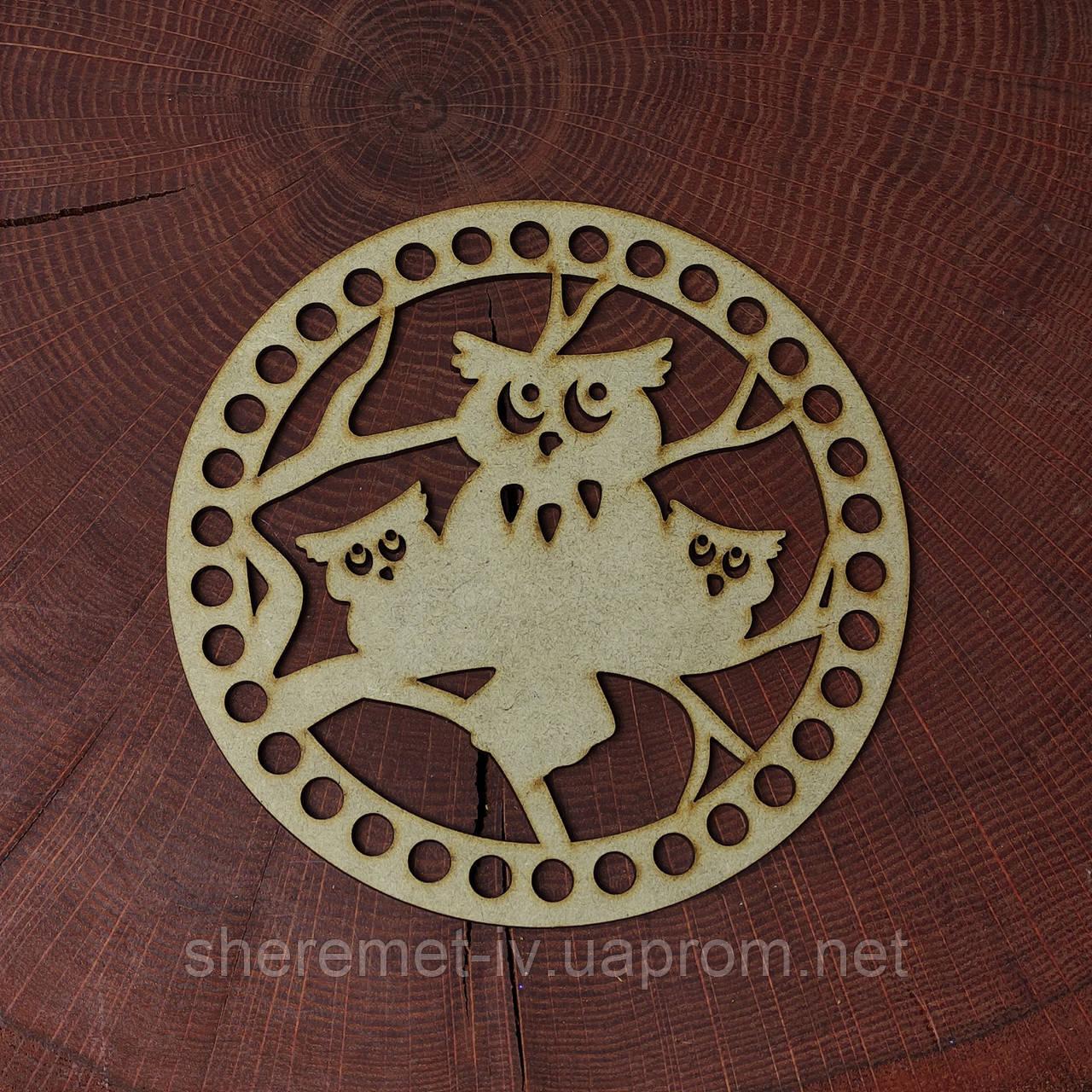 Круглое ажурное донышко совы 15 см для корзинки, МДФ 3мм
