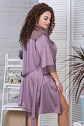 Халат з піжамою шовкові XXL+ К1086п