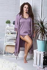 Комплект піжама мереживна + халат подовжений XXL+ К1080п