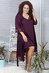 Комплект нічна сорочка з халатом 110 см К501н Сливовий