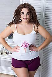 Піжама жіноча бавовняна XXL+ П1100 Білий+сливовий
