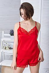 Піжама шовкова з мереживною спинкою Пк1040 Червоний