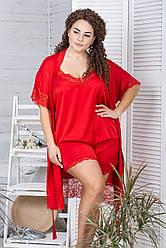 Комплект з мереживом халат и піжама Кк1041п XXL+ Червоний