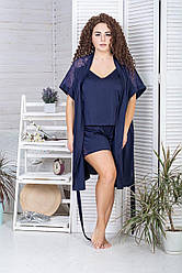 Комплект для будинку піжама + халат К1017п Синій