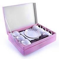 Сервиз чайный фарфоровый чашки 200 мл с блюдцами 12 предметов на 6 персон в красивой подарочной коробке