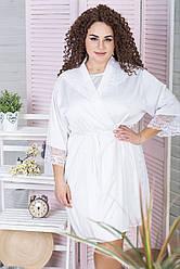 Халат для нареченої з мереживом Х1017 Білий