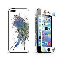 Защитное стекло (2in1) для iPhone 5/5s Butterfly переднее + заднее