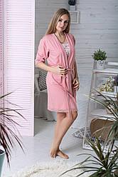 Домашній халат Х1027 Персиковий