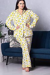 Жіноча піжама рубашка + брюки XXL П1021 Лимони